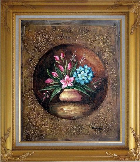 Framed Modern Pink and Blue Flowers Painting Oil Still Life Decorative Gold Wood Frame with Deco Corners 31 x 27 Inches