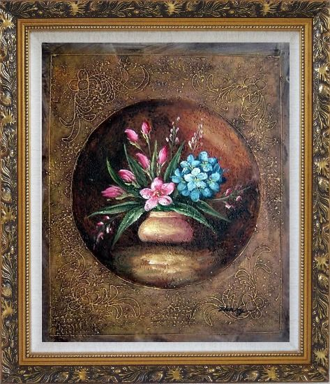 Framed Modern Pink and Blue Flowers Painting Oil Still Life Decorative Ornate Antique Dark Gold Wood Frame 30 x 26 Inches