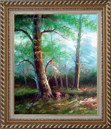 Framed Tree Study Oil Painting Landscape Naturalism Exquisite Gold Wood Frame 30 x 26 Inches