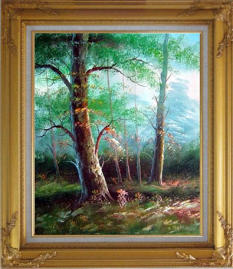 Framed Tree Study Oil Painting Landscape Naturalism Gold Wood Frame with Deco Corners 31 x 27 Inches