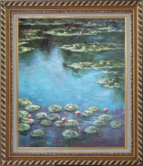 Framed Summer Waterlily Pond , Monet Replica Oil Painting Flower Impressionism Exquisite Gold Wood Frame 30 x 26 Inches