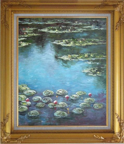 Framed Summer Waterlily Pond , Monet Replica Oil Painting Flower Impressionism Gold Wood Frame with Deco Corners 31 x 27 Inches