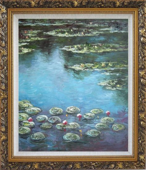 Framed Summer Waterlily Pond , Monet Replica Oil Painting Flower Impressionism Ornate Antique Dark Gold Wood Frame 30 x 26 Inches