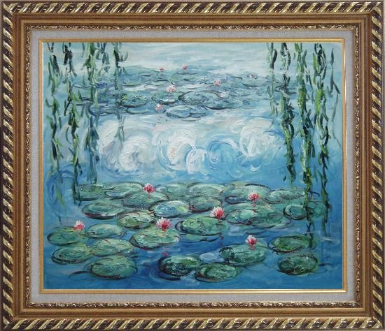 Framed Waterlily and Weeping Willow, Monet Reproduction Oil Painting Flower Impressionism Exquisite Gold Wood Frame 26 x 30 Inches