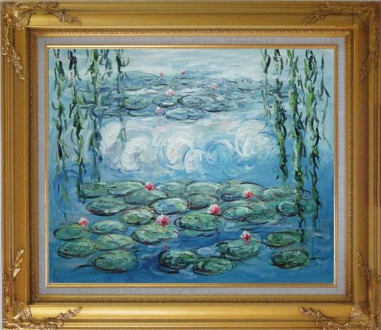 Framed Waterlily and Weeping Willow, Monet Reproduction Oil Painting Flower Impressionism Gold Wood Frame with Deco Corners 27 x 31 Inches