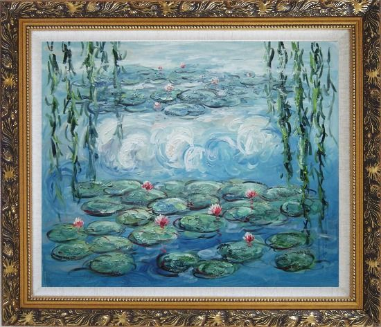 Framed Waterlily and Weeping Willow, Monet Reproduction Oil Painting Flower Impressionism Ornate Antique Dark Gold Wood Frame 26 x 30 Inches