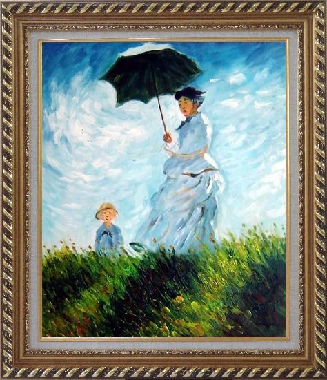 Framed The Stroll, Camille Monet and Her Son, Claude Monet Replica Oil Painting Portraits Woman Child Impressionism Exquisite Gold Wood Frame 30 x 26 Inches