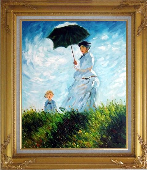 Framed The Stroll, Camille Monet and Her Son, Claude Monet Replica Oil Painting Portraits Woman Child Impressionism Gold Wood Frame with Deco Corners 31 x 27 Inches