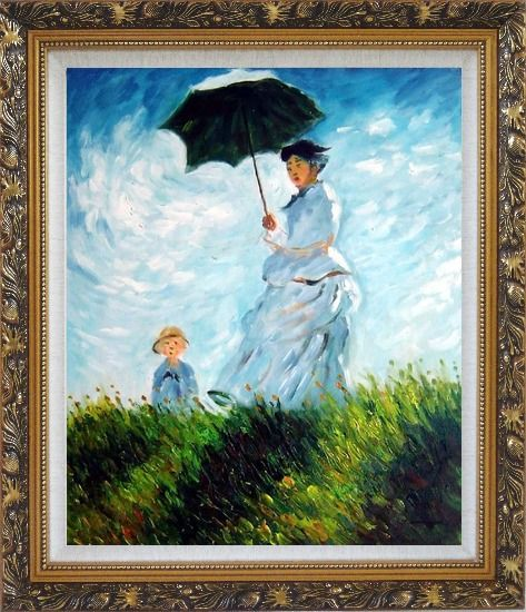 Framed The Stroll, Camille Monet and Her Son, Claude Monet Replica Oil Painting Portraits Woman Child Impressionism Ornate Antique Dark Gold Wood Frame 30 x 26 Inches