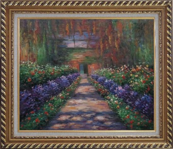 Framed Garden Path at Giverny, Monet Reproduction Oil Painting France Impressionism Exquisite Gold Wood Frame 26 x 30 Inches