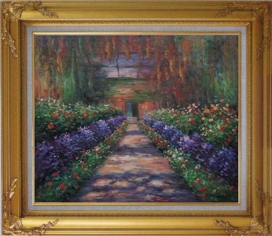 Framed garden path at giverny monet reproduction oil for Framed reproduction oil paintings