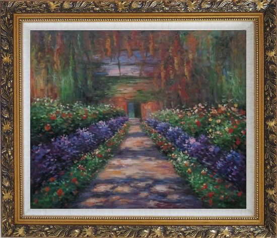 Framed Garden Path at Giverny, Monet Reproduction Oil Painting France Impressionism Ornate Antique Dark Gold Wood Frame 26 x 30 Inches