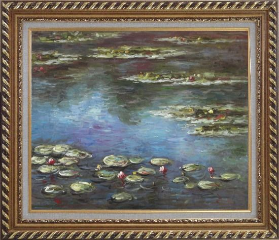 Framed Summer Waterlily, Claude Monet Replica Oil Painting Flower Impressionism Exquisite Gold Wood Frame 26 x 30 Inches
