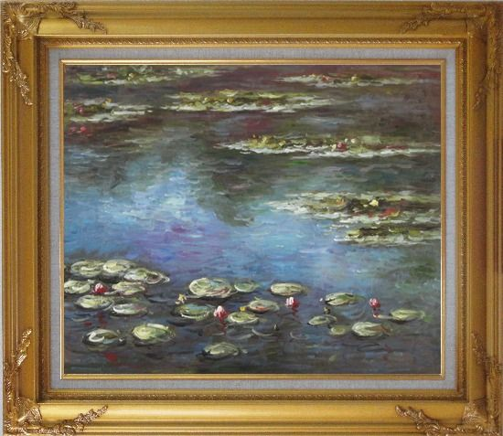 Framed Summer Waterlily, Claude Monet Replica Oil Painting Flower Impressionism Gold Wood Frame with Deco Corners 27 x 31 Inches