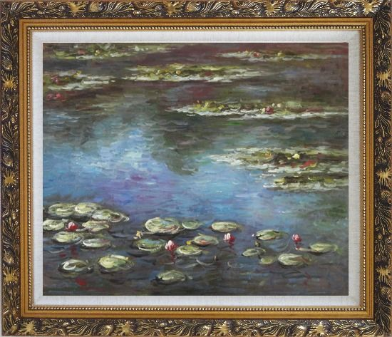 Framed Summer Waterlily, Claude Monet Replica Oil Painting Flower Impressionism Ornate Antique Dark Gold Wood Frame 26 x 30 Inches