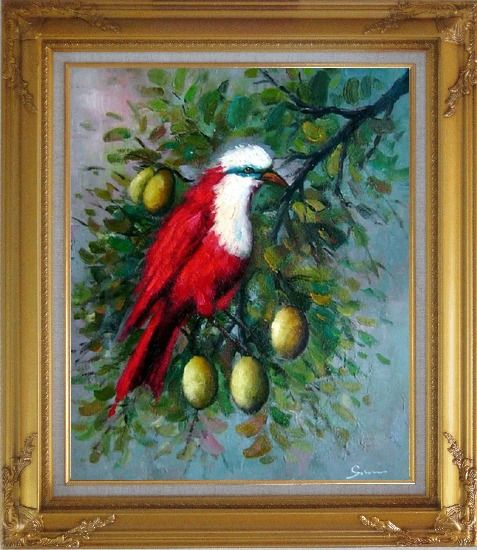 Framed A Red Bird Enjoy in a Fruit Tree Oil Painting Animal Naturalism Gold Wood Frame with Deco Corners 31 x 27 Inches