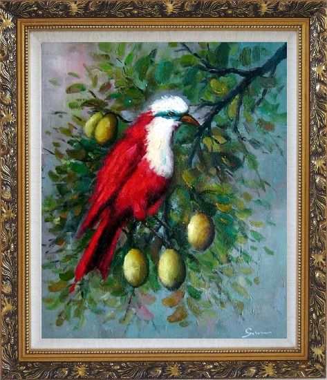 Framed A Red Bird Enjoy in a Fruit Tree Oil Painting Animal Naturalism Ornate Antique Dark Gold Wood Frame 30 x 26 Inches