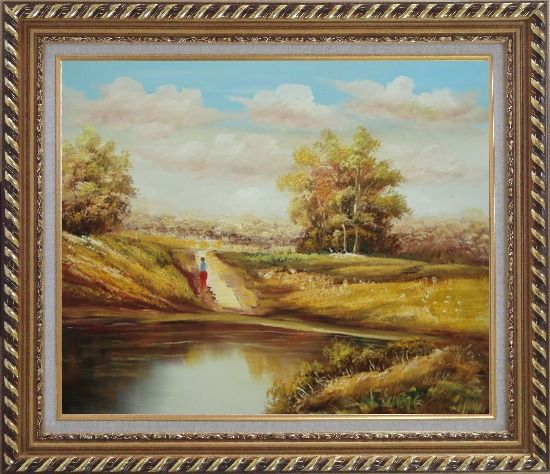 Framed Strolling On Golden Autumn Country Road Oil Painting Landscape Naturalism Exquisite Gold Wood Frame 26 x 30 Inches