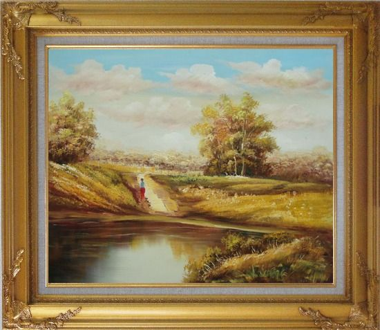 Framed Strolling On Golden Autumn Country Road Oil Painting Landscape Naturalism Gold Wood Frame with Deco Corners 27 x 31 Inches