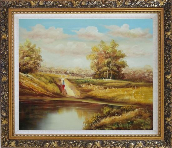 Framed Strolling On Golden Autumn Country Road Oil Painting Landscape Naturalism Ornate Antique Dark Gold Wood Frame 26 x 30 Inches