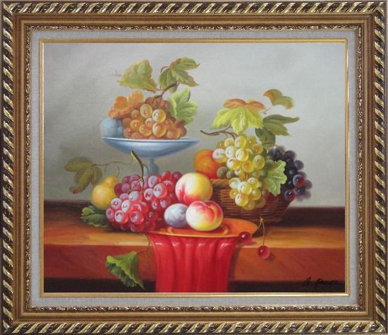 Framed Still Life of Grapes and Peaches on Table Oil Painting Fruit Classic Exquisite Gold Wood Frame 26 x 30 Inches