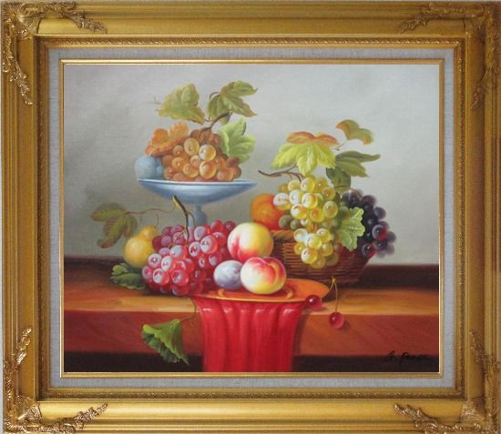 Framed Still Life of Grapes and Peaches on Table Oil Painting Fruit Classic Gold Wood Frame with Deco Corners 27 x 31 Inches