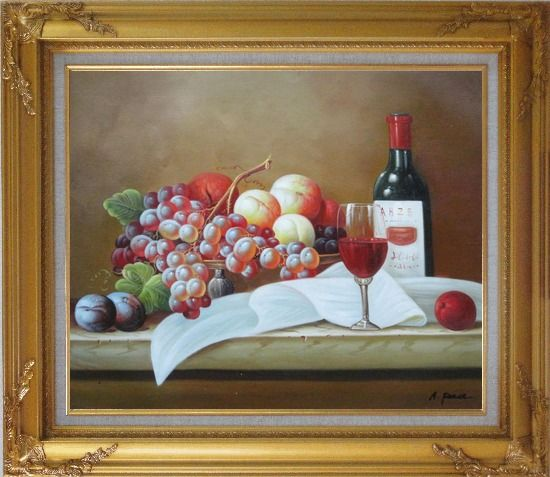 Framed Still Life with Grapes, Peach and Wine Glass on Table Oil Painting Fruit Classic Gold Wood Frame with Deco Corners 27 x 31 Inches