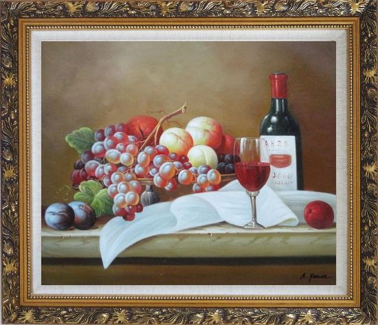 Framed Still Life with Grapes, Peach and Wine Glass on Table Oil Painting Fruit Classic Ornate Antique Dark Gold Wood Frame 26 x 30 Inches