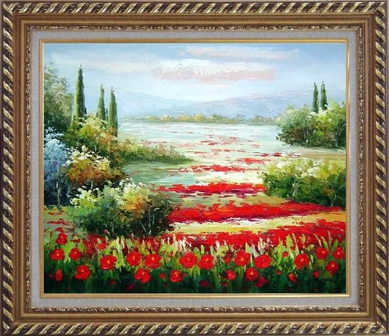 Framed Papaveri Rossi Oil Painting Landscape Field Naturalism Exquisite Gold Wood Frame 26 x 30 Inches