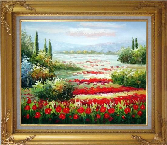 Framed Papaveri Rossi Oil Painting Landscape Field Naturalism Gold Wood Frame with Deco Corners 27 x 31 Inches