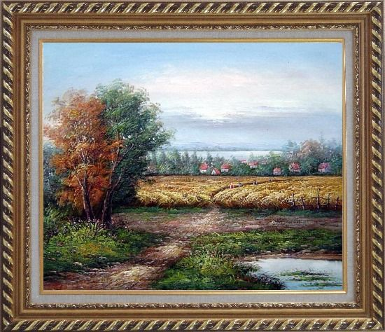Framed The Harvest Oil Painting Landscape Naturalism Exquisite Gold Wood Frame 26 x 30 Inches