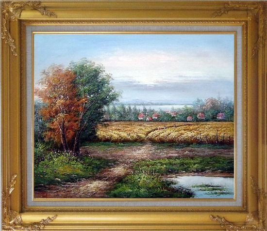 Framed The Harvest Oil Painting Landscape Naturalism Gold Wood Frame with Deco Corners 27 x 31 Inches