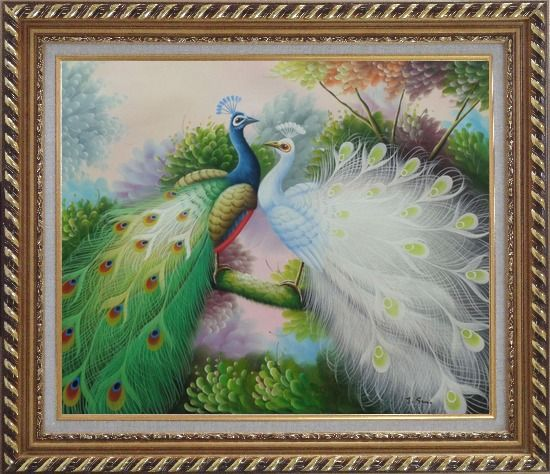 Framed Blue and White Peacocks on Tree Branch Oil Painting Animal Naturalism Exquisite Gold Wood Frame 26 x 30 Inches