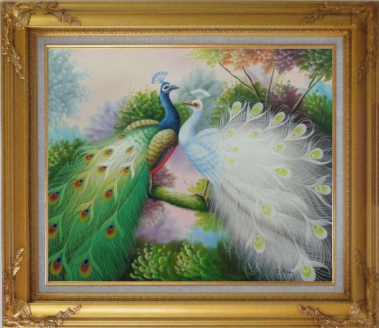 Framed Blue and White Peacocks on Tree Branch Oil Painting Animal Naturalism Gold Wood Frame with Deco Corners 27 x 31 Inches