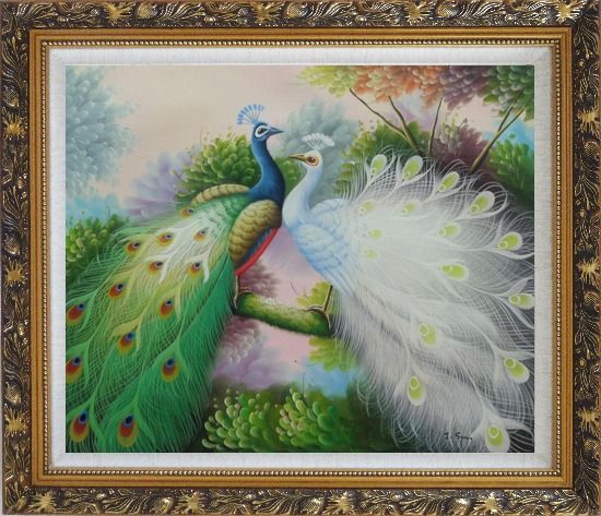 Framed Blue and White Peacocks on Tree Branch Oil Painting Animal Naturalism Ornate Antique Dark Gold Wood Frame 26 x 30 Inches