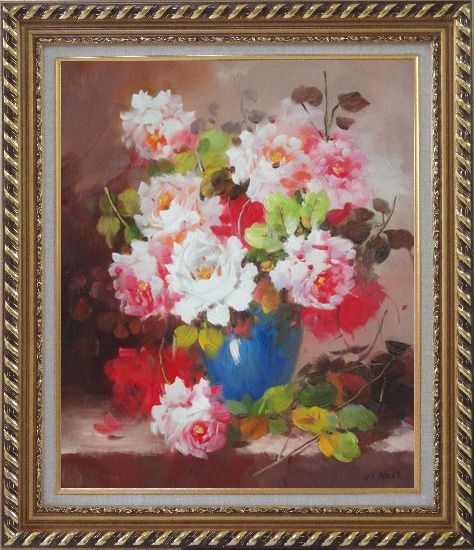 Framed Pink and White Flowers in Blue Vase Oil Painting Still Life Bouquet Naturalism Exquisite Gold Wood Frame 30 x 26 Inches
