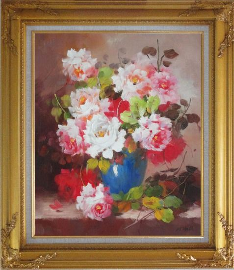 Framed Pink and White Flowers in Blue Vase Oil Painting Still Life Bouquet Naturalism Gold Wood Frame with Deco Corners 31 x 27 Inches