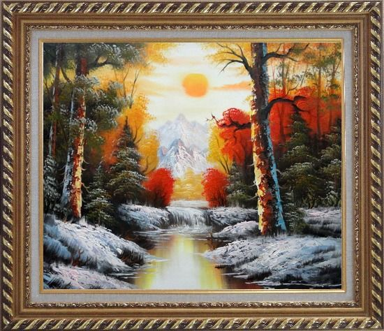 Framed Golden Sunset Over Snow Covered Mountain and River Oil Painting Landscape Naturalism Exquisite Gold Wood Frame 26 x 30 Inches