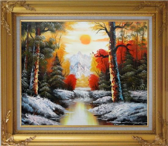 Framed Golden Sunset Over Snow Covered Mountain and River Oil Painting Landscape Naturalism Gold Wood Frame with Deco Corners 27 x 31 Inches