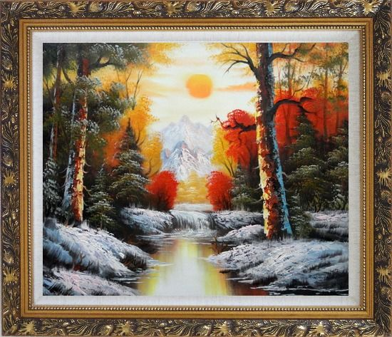 Framed Golden Sunset Over Snow Covered Mountain and River Oil Painting Landscape Naturalism Ornate Antique Dark Gold Wood Frame 26 x 30 Inches