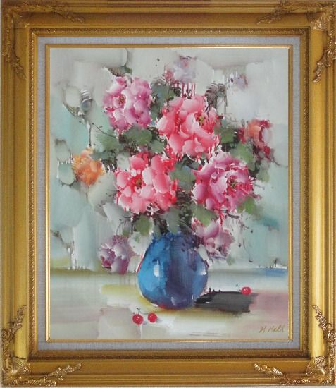 Framed Pink, Yellow and Purple Flowers in Blue Vase on Table Oil Painting Still Life Naturalism Gold Wood Frame with Deco Corners 31 x 27 Inches
