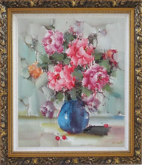 Framed Pink, Yellow and Purple Flowers in Blue Vase on Table Oil Painting Still Life Naturalism Ornate Antique Dark Gold Wood Frame 30 x 26 Inches