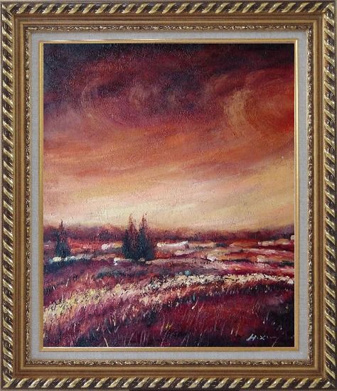 Framed Modern Brown Village Landscape Oil painting Tree Impressionism Exquisite Gold Wood Frame 30 x 26 Inches