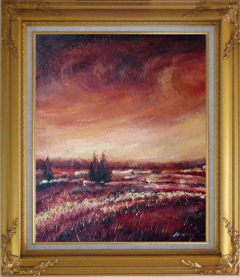 Framed Modern Brown Village Landscape Oil painting Tree Impressionism Gold Wood Frame with Deco Corners 31 x 27 Inches