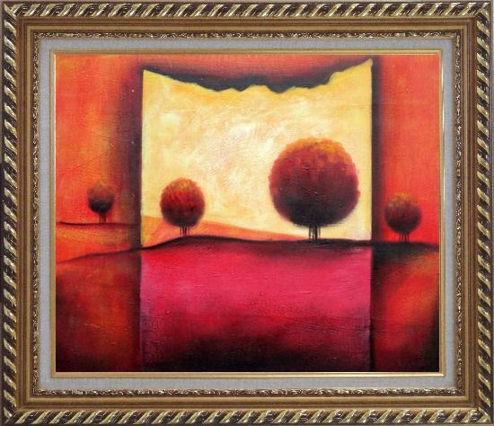 Framed Red Modern Landscape Oil painting Tree Decorative Exquisite Gold Wood Frame 26 x 30 Inches
