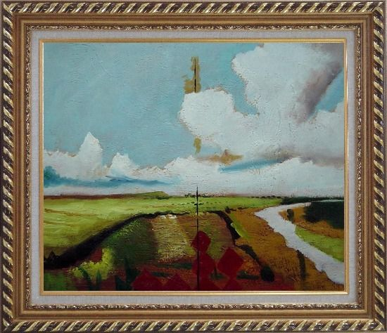Framed Rural Crop Field Landscape Oil painting Impressionism Exquisite Gold Wood Frame 26 x 30 Inches