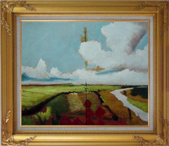 Framed Rural Crop Field Landscape Oil painting Impressionism Gold Wood Frame with Deco Corners 27 x 31 Inches