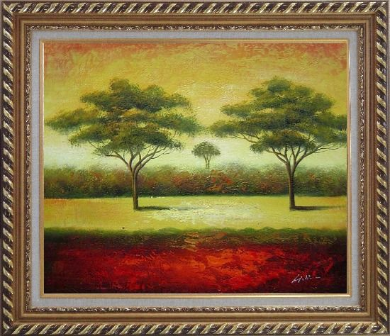Framed Green Trees Landscape Oil painting Impressionism Exquisite Gold Wood Frame 26 x 30 Inches