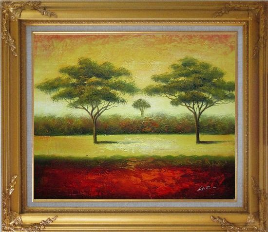 Framed Green Trees Landscape Oil painting Impressionism Gold Wood Frame with Deco Corners 27 x 31 Inches
