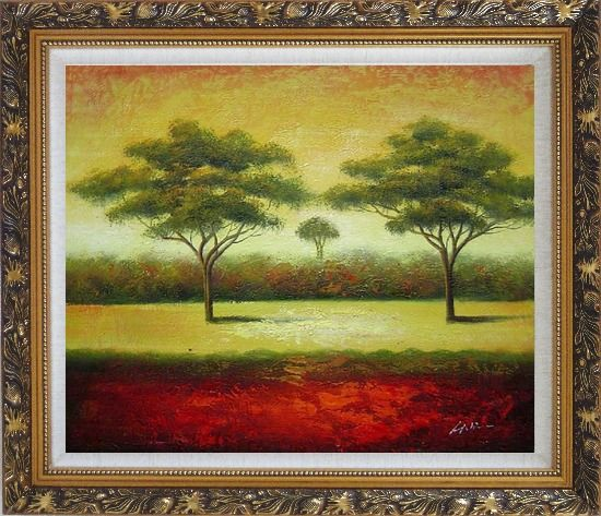 Framed Green Trees Landscape Oil painting Impressionism Ornate Antique Dark Gold Wood Frame 26 x 30 Inches
